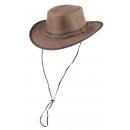 Henbury bruin leren hoed maat L