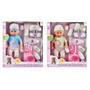 Puppenbox 40cm Baby + Zubehör hx321 Fensterbox