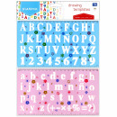 plastic template numbers & letters pouch with