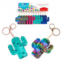wholesale Keychains: keychain sequin cactus pouch with pendant