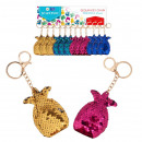 key ring sequin pineapple pouch with pendant
