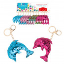wholesale Keychains: keychain sequin dolphin pouch with pendant