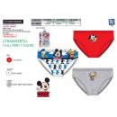 Großhandel Dessous & Unterwäsche: Mickey - Kit mit 3 Slips 100% Baumwolle