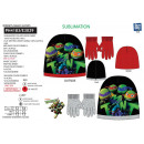TURTLE NINJA - set 2 pieces hat & gloves 100%