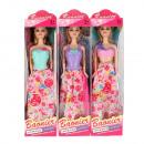 groothandel Speelgoed: pop 29cm 9x34x5 maanden mix3 lange rok vensterdoos