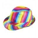 rainbow sequined  fedora  - for adults / unisex