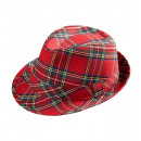 red tartan fedora , Hat size: 56.5 - for adults