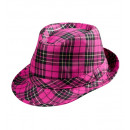 pink tartan fedora , Hat size: 56.5 - for adults