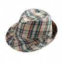 beige tartan fedora , Hat size: 56.5 - for adult