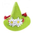 grossiste Jouets: Mini chapeau bavarian vert avec edelweiss - pour