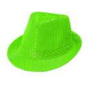 neon green sequin fedora, Hat size: 0 - for adult