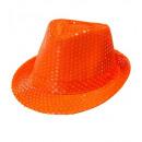 neon orange sequin fedora, Hat size: 0 - for adul