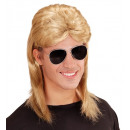 Blond 80s mul pruik met een bril  in polyester za