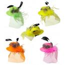 grossiste Cadeaux et papeterie:  mini chapeaux à  plumes et voile  4colors ass.