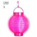 grossiste Jouets: Rose lampion lumière-up tissu avec 2 led blanche