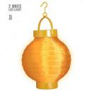 grossiste Jouets: Orange tissu léger-up lampion avec 2 led blanche