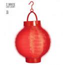 grossiste Jouets: Rouge lampion lumière-up tissu avec 2white led