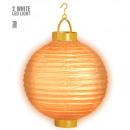 grossiste Cadeaux et papeterie:  Light-up lampion  orange avec 2 blanc led