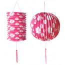 groothandel Windlichten & lantaarns:  Set van roze  papier bal ø 25 cm & lantaarn ø