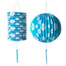 groothandel Windlichten & lantaarns:  Set van blauw  papier bal ø 25 cm & lantaarn ø