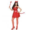 Teufel Mädchen   (Kleid mit  Schwanz, Halsband, ...