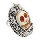 groothandel Accessoires & Onderdelen:  Witte schedel  zilveren ring met strass  - voor vo