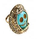 groothandel Accessoires & Onderdelen:  Azuurblauwe  schedel gouden  ring met strass  - ...