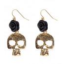 groothandel Speelgoed: paar zwarte roos & gouden schedel oorbellen