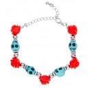 azure skulls & red roses beaded bracelet , Hat si
