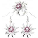 Edelweiß Ohrringe  & Ring mit klaren und rosa