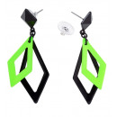 wholesale Toys: pair of black & neon green rhombus earrings , Hat