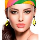 wholesale Toys: pair of black & neon yellow rhombus earrings , ...