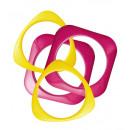 Set van 4 roze & geel disco armbanden  - voor