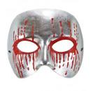 Maschera psico argento unisex con glitter rosso b