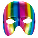 Unisex metallico arcobaleno maschera senza mento