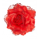 wholesale Drugstore & Beauty:  red rose hair  clip with glitter  -  for women