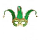 Maschera jolly verde unisex decoratedwith oro &am