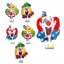 wholesale Toys: set of 6 clown blow-outs 3 styles assorted, Hat
