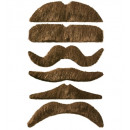 brown moustache adhesive - 6 styles assorted, Ha
