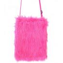 neon pink plush handbag , Hutgröße: 0 - für Damen