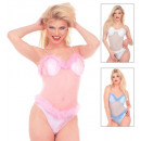 leotard with marabou trim 3 colors assorted: whi