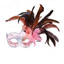 soft pink colombina festa Maske mit Glitzer und fe