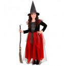 groothandel Speelgoed:  Heks  zwart /  bordeaux - (jurk, hoed), Afmeting: