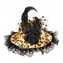 grossiste Jouets: mini chapeaux avec rose, tulle et plume léopard,