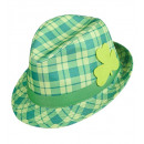 st. patrick's day tartan fedora with shamrock , H