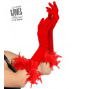 wholesale Toys: red elastane gloves with feather trim 37 ...