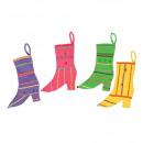 grossiste Jouets: chaussette sorcière velours - 33 cm - 4 styles a