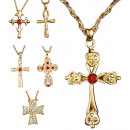 wholesale Pendant: necklace with cross pendant 6 styles assorted -