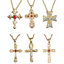 necklace with  cross pendant  6 styles assorted -