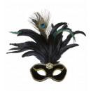Velour nero eyemasks con gemme, piume e oro un